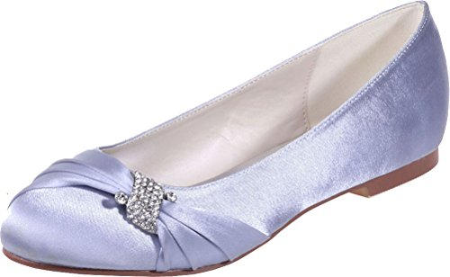 Womens Round Flat 9872 Slip On Purple Satin Vimedea 22 Bride Silver Toe Wedding Satinmps 46TdnxdX
