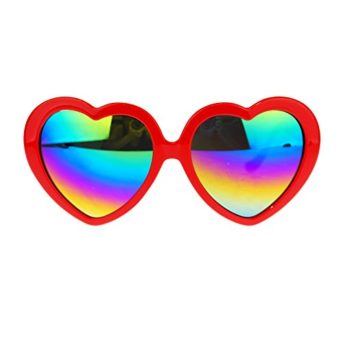 Womens Mirrored Rusta Mirror Lens Plastic Frame Heart Shape Sunglasses Red