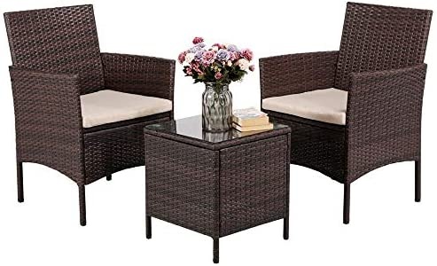 Yaheetech 3 Pieces Patio Furniture Sets PE Rattan Wicker Chairs Beige Cushion