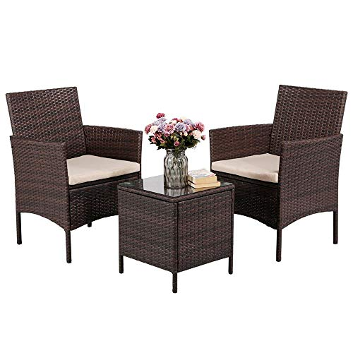 Yaheetech 3 Pieces Patio Furniture Sets PE Rattan Wicker Chairs Beige Cushion with Table Outdoor Garden Brown