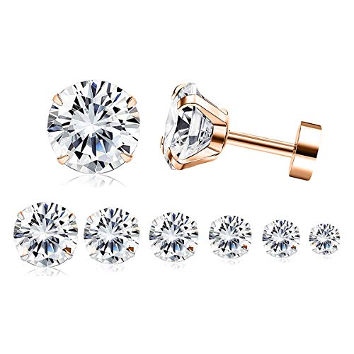 Adramata 7 Pairs 20G Cartilage Earring for Women Men Tragus Stud Earrings Shiny CZ ()