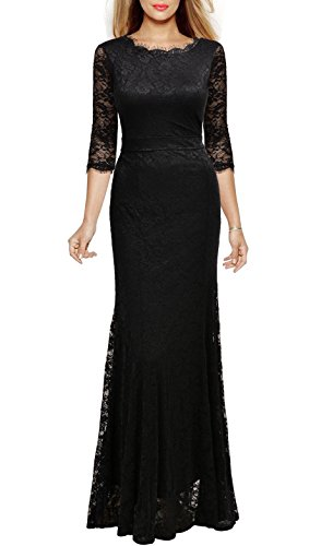 Viwenni Women's Lace 2/3 Sleeves Long Bridesmaid Prom Homecoming Gown Long Dress(Black,XL) (Mother Bridesmaid Dress Long)