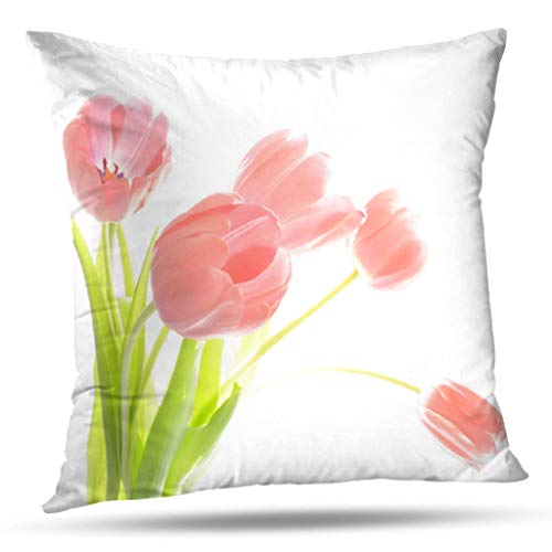 - KJONG Outdoor Patio Pink Tulip Flower Zippered Pillow Cover,20X20 inch Square Decorative Throw Pillow Case Fashion Style Cushion Covers(Two Sides Print)
