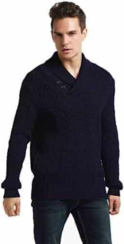 d6efa97c1db7e8 PrettyGuide Men's Shawl Collar Sweater Button Cable Knit Pullover Sweater  Tops