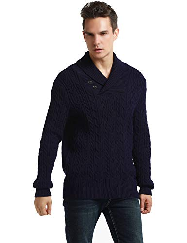 (PrettyGuide Men's Shawl Collar Sweater Button Cable Knit Pullover Sweater Tops L Navy)
