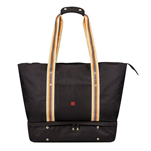 APOLLO WALKER Extra Large Women Travel Duffle Tote Gym Bag with Shoe Bag for Beach,Travel,Gym Time(Black)