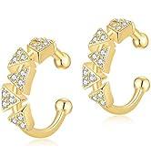 Jewlpire Ear Cuff 925 Sterling Silver Earrings for Women Girls-18K Gold Plated Hypoallergenic Ear...