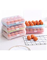 Froiny 15 Koelkast Eieren Container met Deksel, Draagbare Stapelbare Grote Capaciteit Ei Houder Clear Plastic Decoratieve Krat