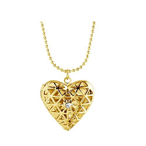 Beydodo Memorial Jewelry Women Locket Necklace Heart Hollow Locket Necklaces CZ Gold
