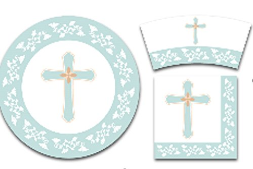 e Set - Serves 24 - Religious Party Supplies for Baptism, Church Events, Includes Plastic Knives, Spoons, Forks, Paper Plates, Napkins, Cups ()