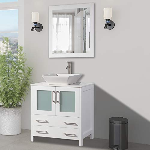 Vanity Art 30 inch Single Sink Small Bathroom Vanity Set 2-Drawers, 1-Shelf - Tops Sink Mirrors And Single With Vanities Bathroom