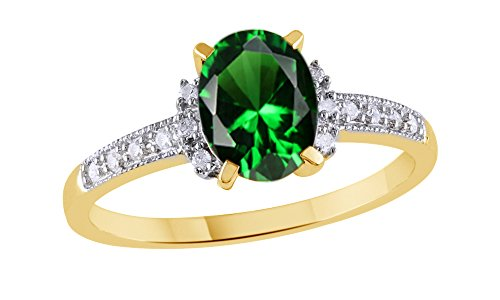 Simulated Green Emerald & White Natural Diamond Solitaire Fashion Ring In 10K Solid Gold (1.07 Ct) ()