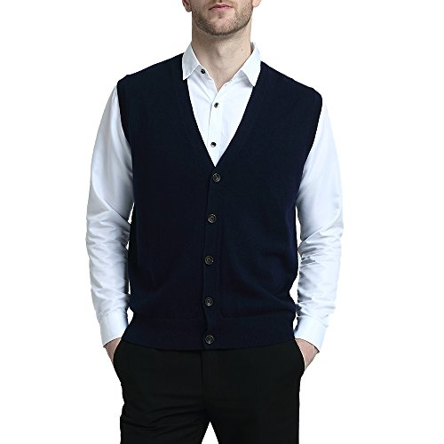 Kallspin Relaxed Fit Mens V-Neck Vest Sweater Cashmere Wool Blend Front Button (Navy Blue, XL)