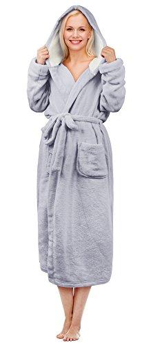 Hooded Sherpa Robe Long Plush Fuzzy Bathrobe for Women with Hood Sherpa Lined Grey
