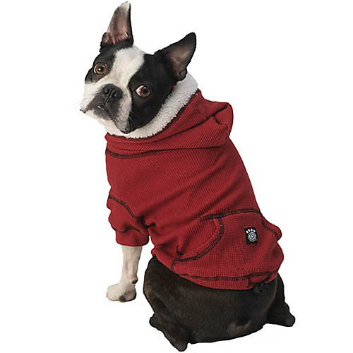 PetRageous Bentley's Fur Trimmed Red Dog Hoodie - Small