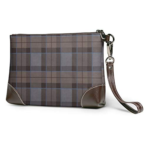 Outlander Fraser Tartan Plaid Leather Wristlet Clutch Bag Zipper Handbags Purses Phone Wallets With Strap Card Slots