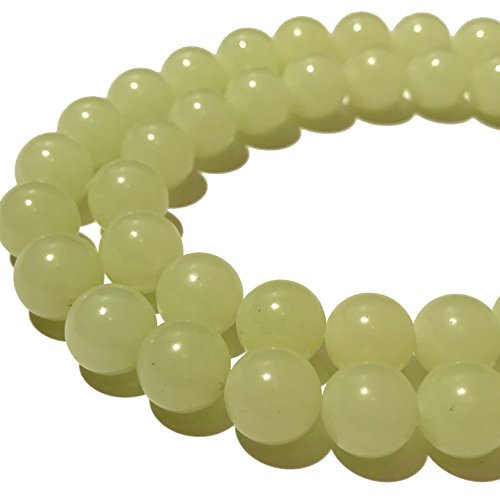 ([ABCgems] Glow in Dark Mexican Green Aragonite AKA Cave Calcite (Extremely Rare- Exquisite Color) 8mm Smooth Round Beads for Beading & Jewelry Making)