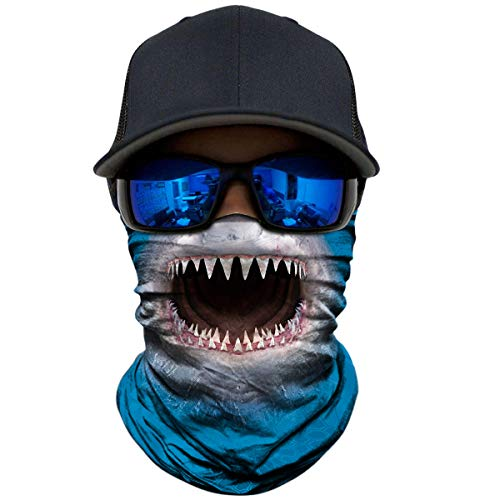 (WWPAI AXBXCX 2 Pack - 3D Animal Neck Gaiter Shield Scarf Bandana Face Mask Seamless UV Protection for Motorcycle Cycling Riding Running Fishing Hiking Conoeing Shark)