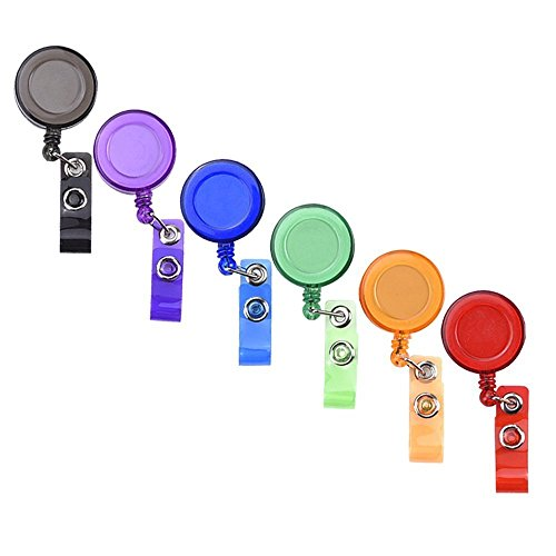 Mudder 6 Pieces Translucent Retractable Badge Holders Badge Reel with Belt Clip for ID Badge Key Cards