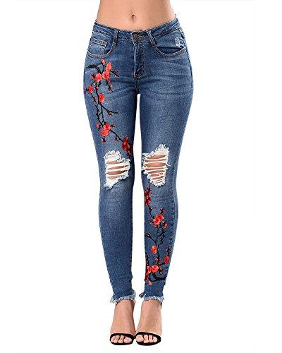 Vaqueros Casual Floral Jeans Delgado Pantalones Boyfriend Para Mujer Rodilla Rasgada Azul Marino