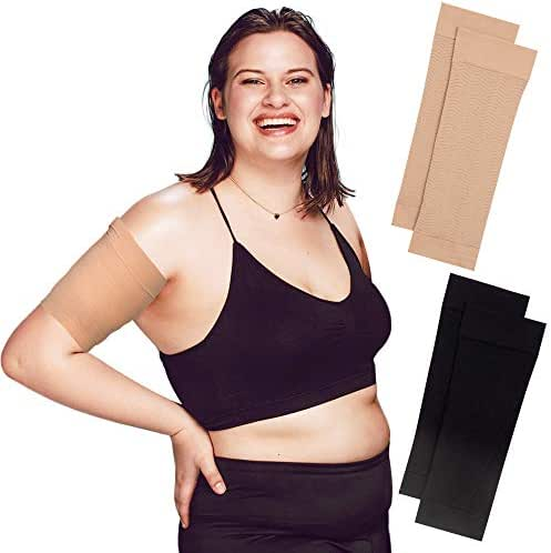 Arm Shapers for Women - Upper Arm Compression Sleeve to Help Tone Arms - Slimming Arm Wraps for Flabby Arms - Helps Shape Upper Arms Ideal for Plus Size Women - 2 Pairs (Black + Beige)