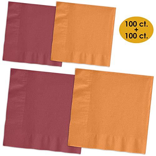 200 Napkins - Burgundy & Autumn Orange - 100 Beverage Napkins + 100 Luncheon Napkins, 2-Ply, 50 Per Color Per Type