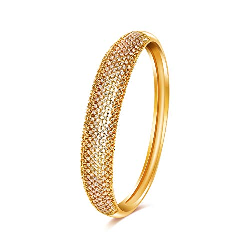CILILI Fashion Cuff Bangle Bracelet with Swarovski Crystal Rhinestones for Women (Round (Gold))