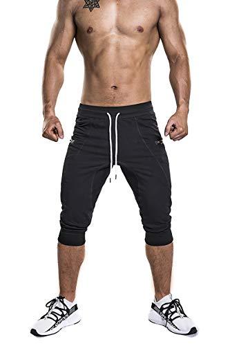 - SAMZUEO Mens Casual Shorts 3/4 Jogger Pants Workout Training Jogger Capri Pants Black, Medium