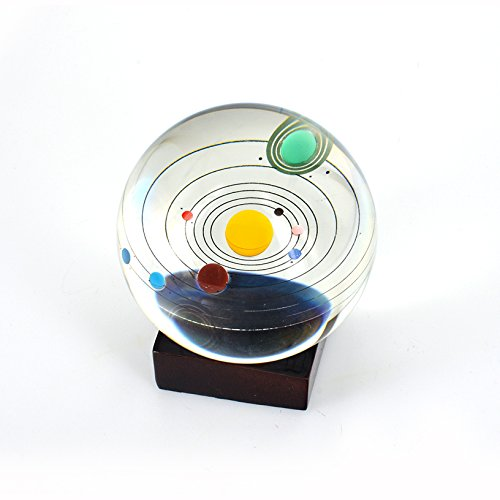 Toyofmine Solar System Clear Crystal Ball 80mm with Wood Stand by toyofmine (Image #4)