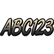 """Whipline Tan/Black 3"""" Alpha-Numeric Registration Identification Numbers Stickers Decals for Boats & Personal Watercraft"""