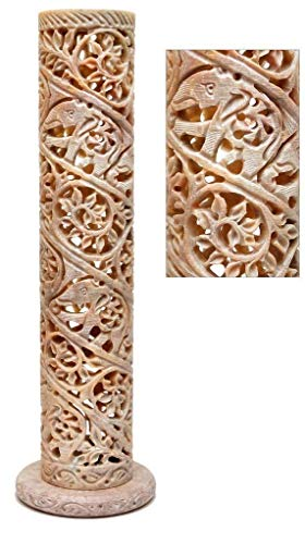 Dcrafters Handcarved Soapstone Round Shaped Incense and Candle Holder in Floral Jali Work (Incense Stone Tower)