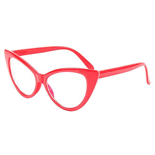 BestWare Cat-Eye Eyeware Women Eyeglasses Cateye Glasses Fashion Glasses Women Sunglasses - Glasses Fake Red