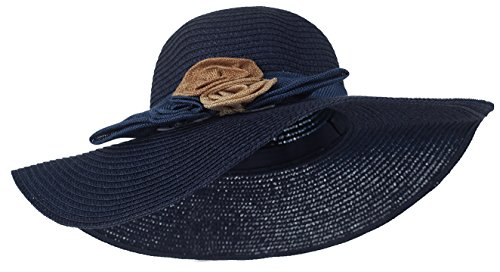 Kaisifei Summer Girls Sweet Big Flower Straw Hats (navy blue-2) by Kaisifei
