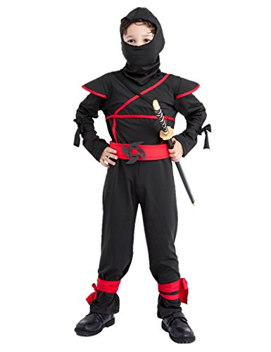Sorrica Kids Hallowmas Party Cosplay Fancy Dress Boy's Girl's Ninja Costume (L(Height 47
