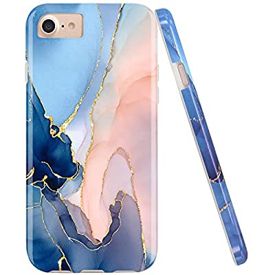 JAHOLAN White Marble Design Clear Bumper Glossy TPU Soft Rubber Silicone Cover Phone Case Compatible with iPhone 7 iPhone 8 iPhone 6 6S