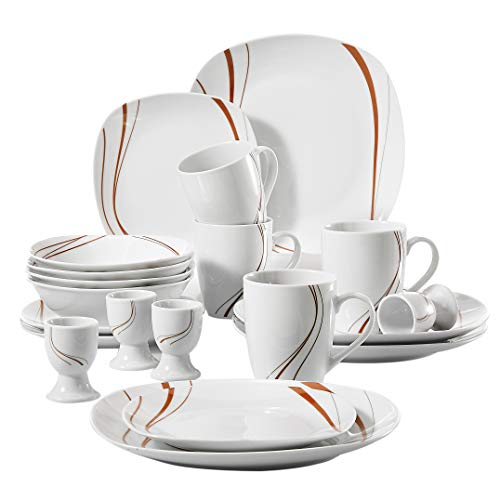 (VEWEET 20-Piece Porcelain Dinnerware Set Ivory White Plate Sets Orange Stripe Patterns Service for 4, Dinner Plate, Salad Plate, Soup Plate Saucers and Mugs (BONNIE Series))