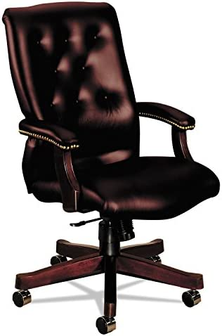 HON 6540 Series Vinyl Executive High-Back Chair with Knee-Tilt, Fixed Arms, Wood Trim and Mahogany Finish, Oxblood