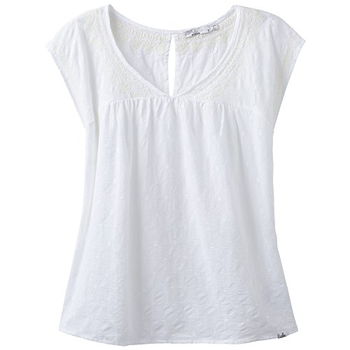 prAna Blossom Top, White, Small - Cotton Exchange Lightweight T-shirt