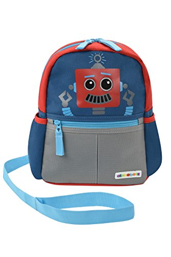 Alphabetz Robot Toddler Backpack with Safety Harness Leash, Blue, Red, Universal Size