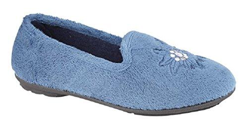 Blueberry Bleu Mémoire Homecraft Chaussons Tamsin Confort Logo Brodé Hwg0qBa