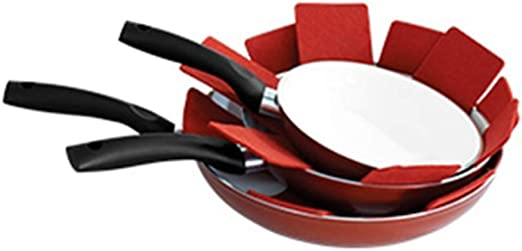 Padded Pot Pan and Dish Protectors Set of 8 Assorted Sizes and Colors