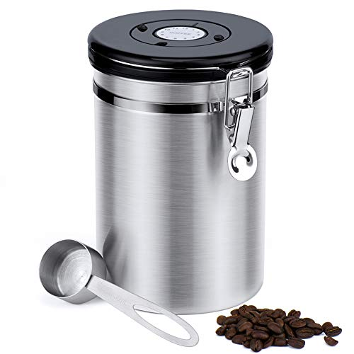 50% off Glotoch Airtight Coffee Canisters-Stainless Steel Coffee Storage Container, Vault with Built-in CO2 Gas Vent Valve & Date Tracking Wheel &Scoop -Large(64oz), Silver ()