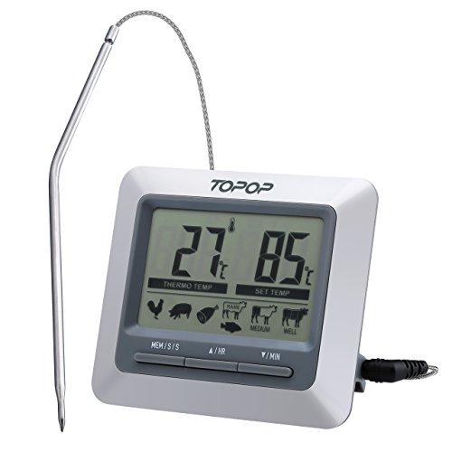 Topop Barbecue Grill Thermometer und Digital Zeitmesser mit großem LCD-Display, 304 Edelstahl-Sonde, BBQ Smoker Thermometer für das Kochen, Indoor / Outdoor-Grill, Backofen / Fleisch / Türkei / Steak