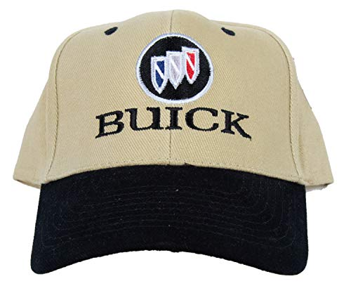(Buick Tri Shield Fine Embroidered Adjustable Adult Hat Cap, Khaki/Black)