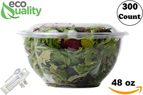 48oz Salad Bowls To-Go with Lids and Cutlery (300 Count) - Clear Plastic Disposable Salad Containers | Lunch, Salads, Fruits, Leak Proof, Airtight, Fresh, Meal Prep, Fork, | Rose Bowl Container (48oz)