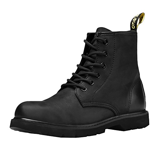 ICEGREY Herren Leder Mid Kurzschaft Stiefel Chukka Winter Boots Stiefeletten Schwarz EU 39