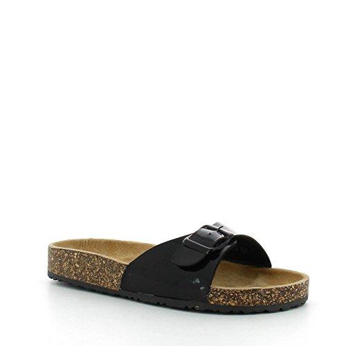 Donna by swan ideal shoes apertavernice style scarpetta con cintura in pelle et semelle en gomme amalia