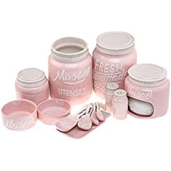 7-Piece Pink Mason Jar Kitchen Ceramics - Beautiful Vintage Kitchenware Set | Measuring Cups & Spoons, Spoon Rest, Salt & Pepper Shakers, Sponge Holder, Cookie Jar, Utensil Crock by Goodscious