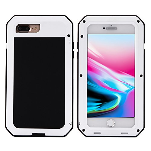 Mangix iPhone 8 Plus Case,iPhone 7 Plus Case,Built-in Glass Metal Extreme Shockproof Heavy Duty Cover Shell Case Full Body Protection for Apple iPhone 8 Plus/7 Plus (White) ()