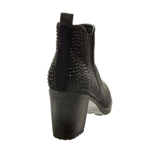 Angkorly - Zapatillas de Moda Botines chelsea boots mujer strass Talón Tacón ancho alto 7 CM - Negro